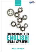 Introduction to the English Legal System 2016 2017