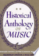 Historical Anthology of Music: Baroque, rococo, and pre-classical music