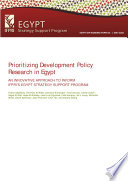 Prioritizing development policy research in Egypt
