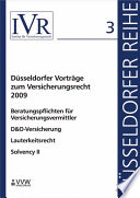 Düsseldorfer Vorträge zum Versicherungsrecht 2009