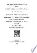 Letters to Madame Hanska