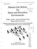 Human Like Robots for Space and Hazardous Environments