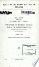Results of the Recent Elections in Zimbabwe Book