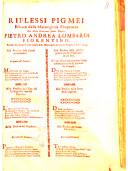 Riflessi pigmei estratti dalla marauigliosa eloquenza del molto reuerendo padre maestro Pietro Andrea Lombardi fiorentino, erudito predicatore nella Chiesa di S. Maria delle Grazie di Bologna l'anno 1704