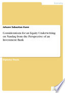 Considerations for an Equity Underwriting on Nasdaq from the Perspective of an Investment Bank Book