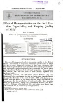Effect of Homogenization on the Curd Tension  Digestibility  and Keeping Quality of Milk