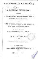 Bibliotheca classica; or, A classical dictionary [by J. Lempriere]. By J. Lempriere by John Lempriere PDF