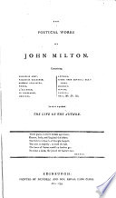 A Complete Edition of the Poets of Great Britain..: Milton. Cowley. Waller. Butler. Denham