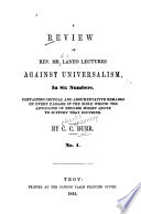 A Review Of Rev Mr Lane S Lectures Against Universalism