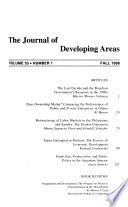 The Journal of Developing Areas  , Volume 33