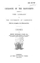 Pdf A Catalogue of the Manuscripts Preserved in the Library of the University of Cambridge