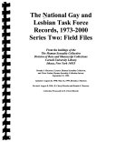 The National Gay and Lesbian Task Force Records  1973 2000  Field files  reel 71 226   guide