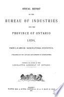 Ontario  Canada  Department of Agriculture  Annual Report
