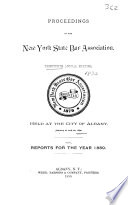 Proceedings And Committee Reports New York State Bar Association