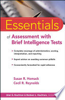 Essentials Of Assessment With Brief Intelligence Tests Book PDF