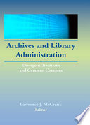 Archives and Library Administration Book