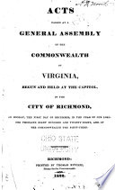 Acts Passing at a General Assembly of the Commonwealth of Virginia Book