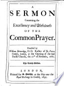 A Sermon Concerning The Excellency And Usefulness Of The Common Prayer