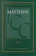 A Critical and Exegetical Commentary on the Gospel According to Saint Matthew  Introduction and commentary on Matthew I VII