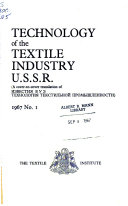 Technology Of The Textile Industry U S S R  Book PDF