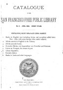 Catalogue of the San Francisco Free Public Library  Short Titles  June 1882