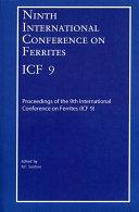 Ninth International Conference On Ferrites Icf 9  Book PDF