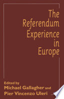 The Referendum Experience In Europe Book
