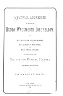 Memorial Addresses in Honor of Henry Wadsworth Longfellow