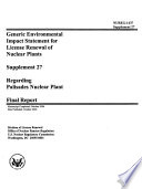 Generic EIS for Nuclear Power Plant Operating Licenses Renewal