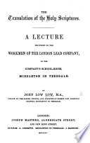 The Translation Of The Holy Scriptures A Lecture