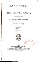 Anastasius Or Memoirs of a Greek