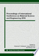 Proceedings of International Conference on Material Science and Engineering 2016