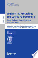 Engineering Psychology and Cognitive Ergonomics. Mental Workload, Human Physiology, and Human Energy