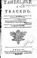 Tamerlane  A Tragedy  Written by N  Rowe  Esq  The Seventh Edition
