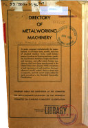 Directory of Metalworking Machinery  Rev  1947