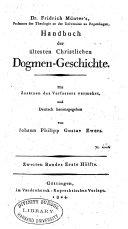Friedrich Munter's Handbuch der ältesten Christlichen Dogmen-Geschichte