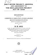 Salt River Project  Arizona  and Amendment to the Reclamation Project Act of 1939