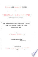 Poetical and Dramatic Works of Thomas Randolph Book PDF