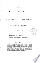 The Plays Of William Shakspeare In Fifteen Volumes Twelfth Night Measure For Measure Much Ado About Nothing