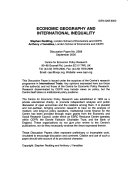 Economic Geography and International Inequality Book