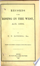 Records of the Rising in the West, A.D. 1655