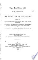 The Principles of the Hindu Law of Inheritance