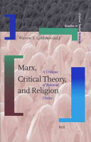 Marx  Critical Theory  and Religion Book PDF