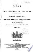 A List of the Officers of the Army and of the Corps of Royal Marines Book