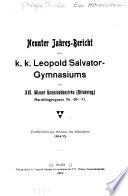 Jahre-Bericht des k.k. Staats-Gymnasiums im XVI. Wiener Gemeinde-Bezirke (Ottakring)