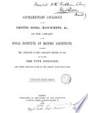 Supplementary catalogue  containing the addendum to the catalogue printed in 1865