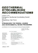 Geothermal Streamlining Recommendations