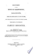 History Of The Town Of Shrewsbury Massachusetts