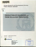 Production of Soladiesel RD   from Cellulosic Feedstocks