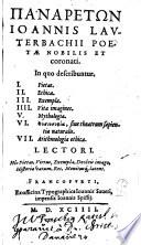 Panaretōn Ioannis Lavterbachii Poetae Nobilis Et coronati